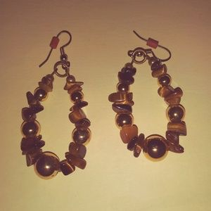 Vintage Tiger's Eye Chip Earrings